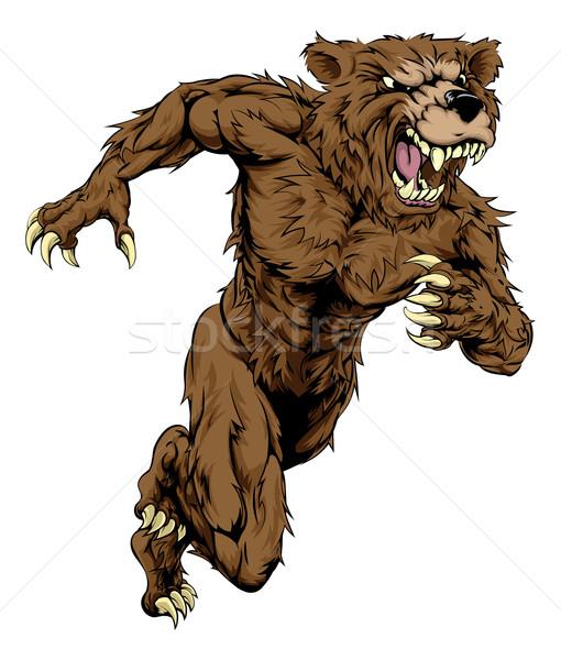 Bear sports mascot running Stock photo © Krisdog