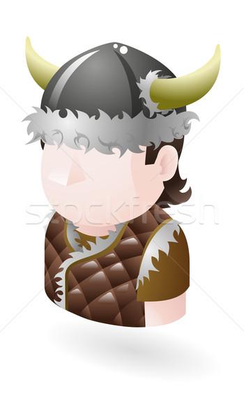 Viking illusztráció férfi kalap rajz panorámakép Stock fotó © Krisdog