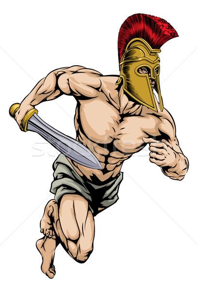 Gladiatore mascotte illustrazione guerriero carattere sport Foto d'archivio © Krisdog