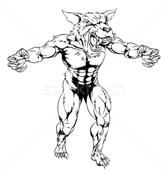 оборотень талисман черно белые волка человека спортивных Сток-фото © Krisdog