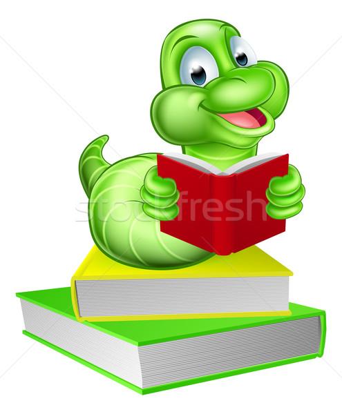 Solucan kitaplar karikatür tırtıl kitap kurdu okuma Stok fotoğraf © Krisdog