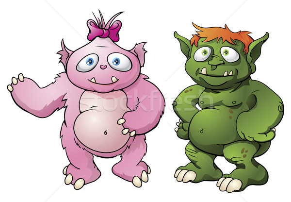 Cute monster cartoon characters Stock photo © Krisdog