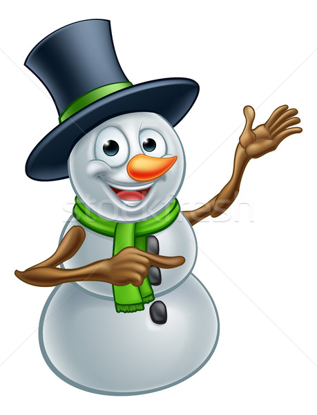 Christmas Snowman Cartoon Character Pointing Stock photo © Krisdog