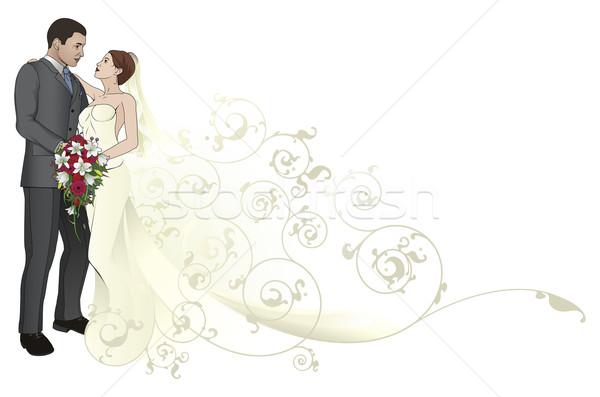 Stock photo: Bride and groom embracing background pattern