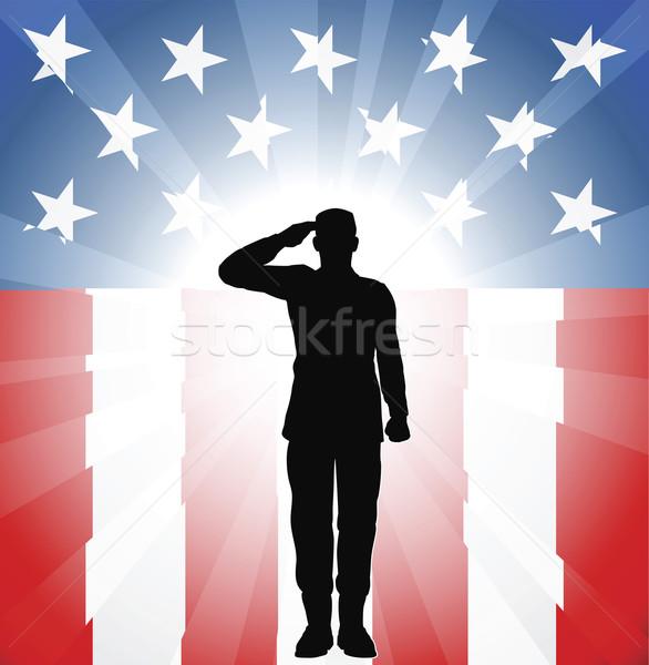 Patriotic soldier salute Stock photo © Krisdog