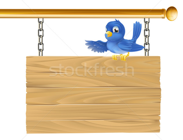 Cute bluebird hanging sign Stock photo © Krisdog