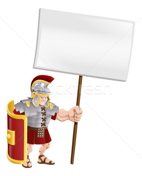 Tough Roman soldier holding sign board Stock photo © Krisdog
