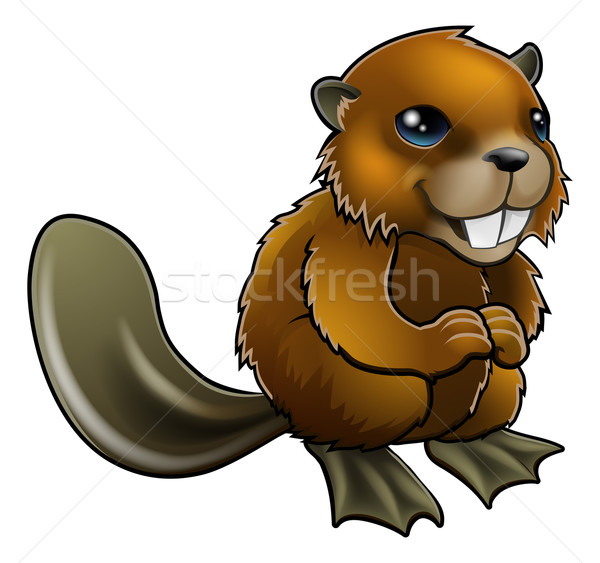 Stock photo: Happy Cartoon Beaver