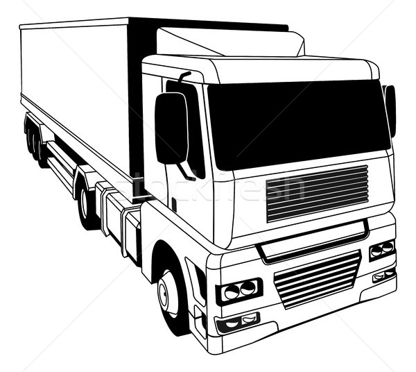 Blanc noir camion illustration noir et blanc transport rapide Photo stock © Krisdog