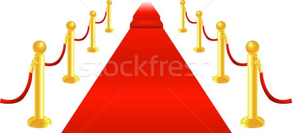 Alfombra roja terciopelo cuerda dorado latón ilustración Foto stock © Krisdog