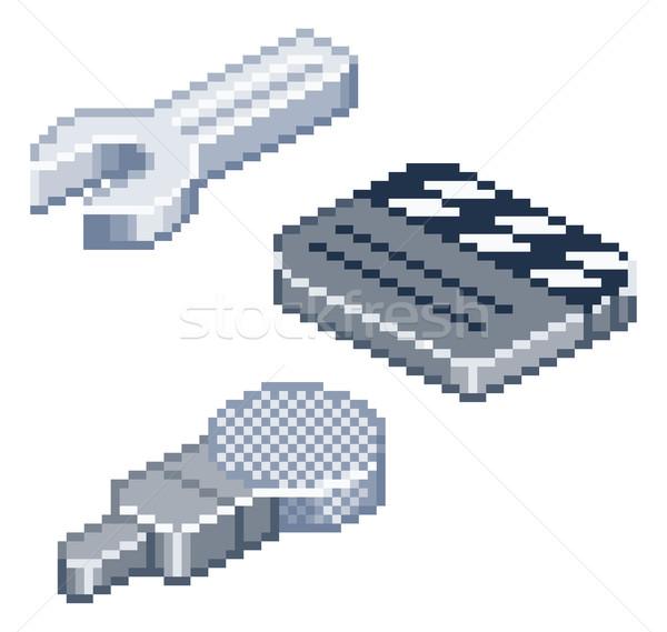 Pixel retro style isometric icons Stock photo © Krisdog