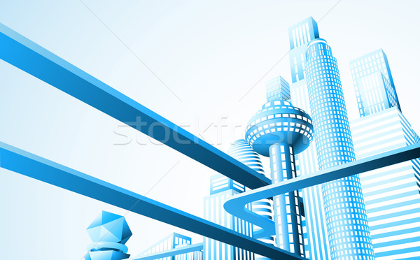 Futuriste cityscape résumé illustration Skyline route Photo stock © Krisdog
