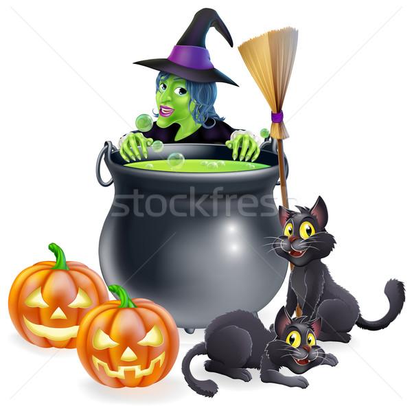 Witch Halloween Scene Stock photo © Krisdog