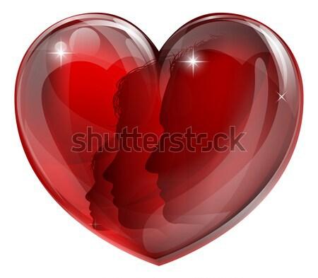 Couple silhouettes heart Stock photo © Krisdog