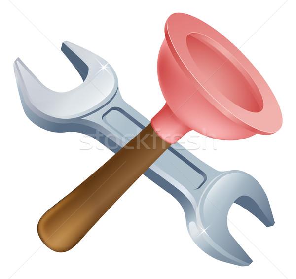 Csavarkulcs szerszámok ikon rajz építkezés csináld magad Stock fotó © Krisdog