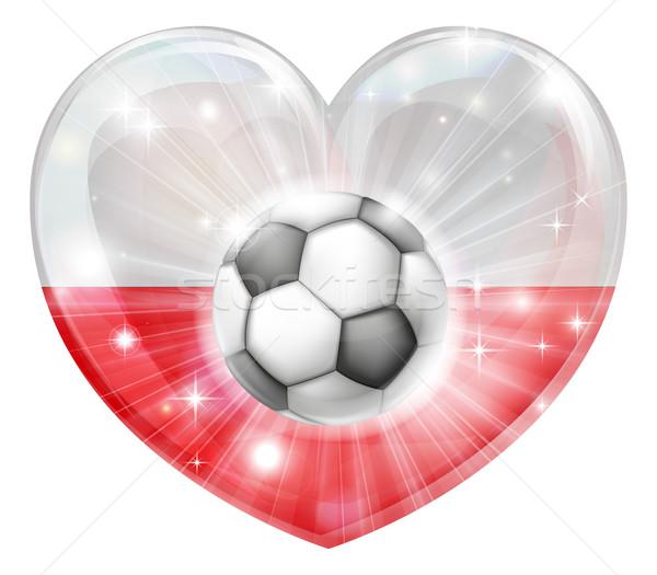 Polish soccer heart flag Stock photo © Krisdog