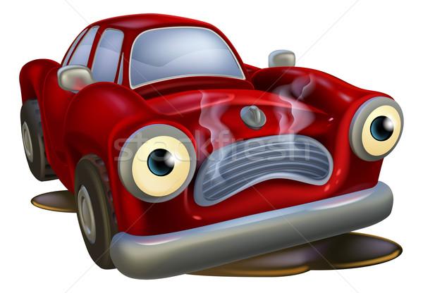 Zdjęcia stock: Cartoon · samochodu · podziale · w · dół · smutne · maskotka