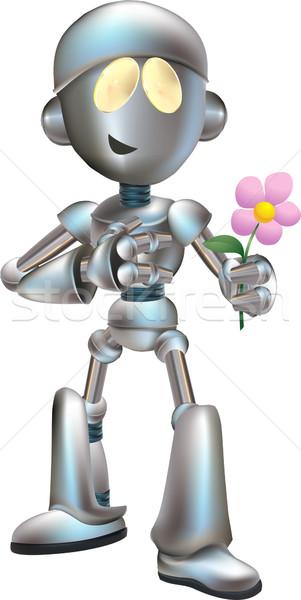 Illustration of love struck robot with flower Stock photo © Krisdog