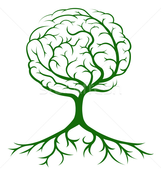 Stockfoto: Boom · hersenen · groeiend · vorm · ideeën