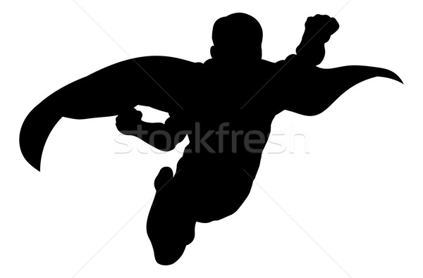Superhero Flying Silhouette Stock photo © Krisdog