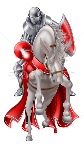 Jousting Knight on White Horse Stock photo © Krisdog