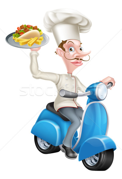 Cartoon Chef on Scooter Moped Holding Kebab Stock photo © Krisdog