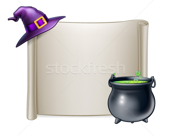 Halloween Scroll Sign Background Stock photo © Krisdog