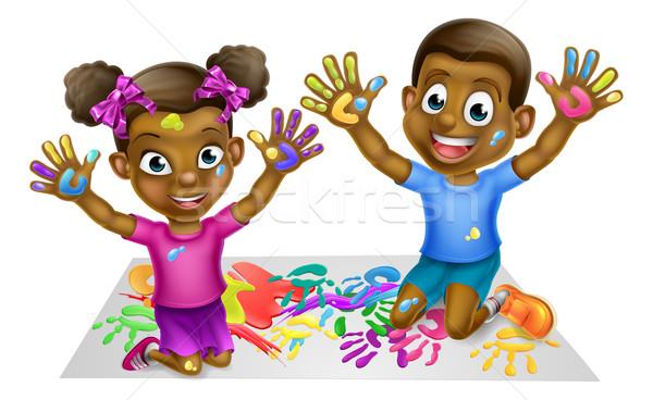 Black Kids PLaying With Paints Stock photo © Krisdog