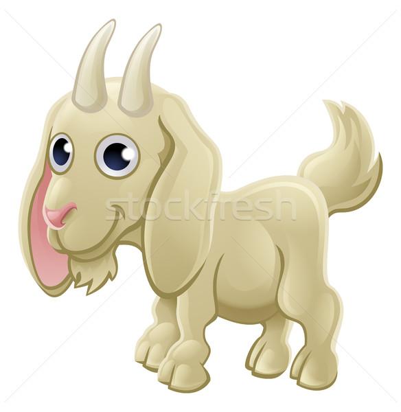 Cartoon Cute Goat Farm Animal Stock photo © Krisdog