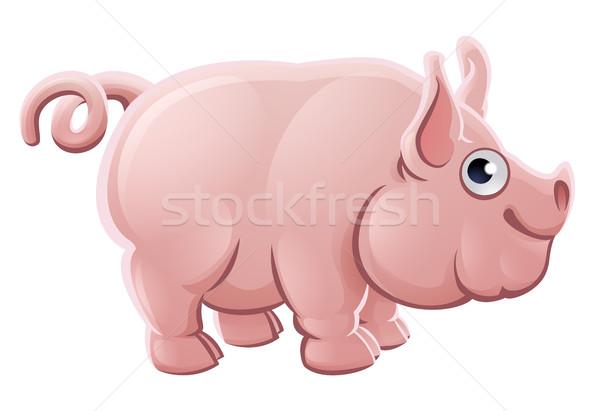 Rajz aranyos disznó haszonállat karakter baba Stock fotó © Krisdog