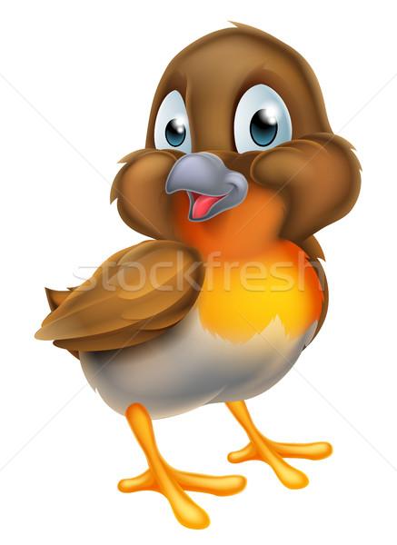 Cartoon Christmas Robin Bird Stock photo © Krisdog