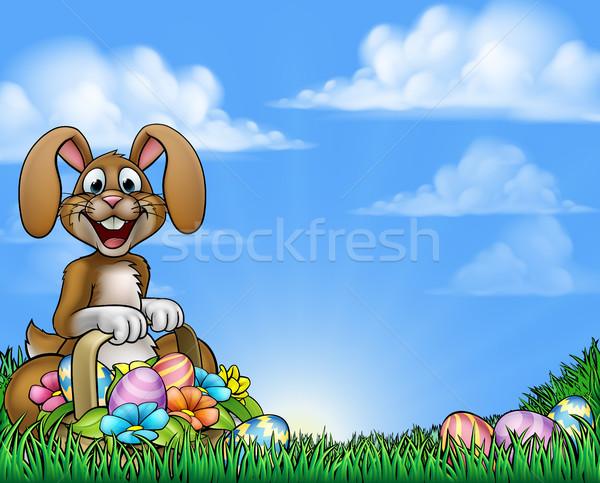 Conejo de Pascua Pascua conejo cesta completo Foto stock © Krisdog