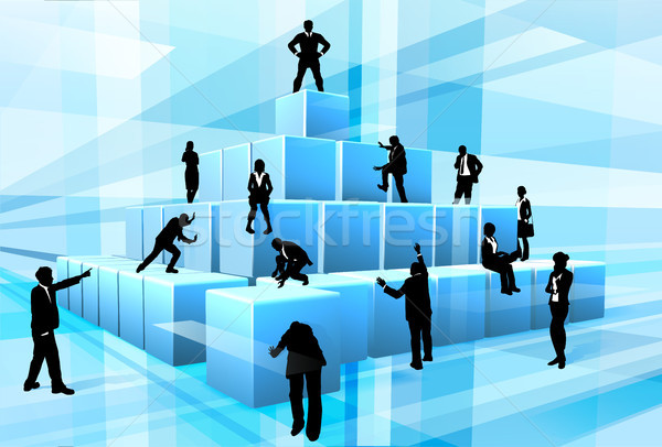 Stock photo: Building Blocks Silhouette Business Team People
