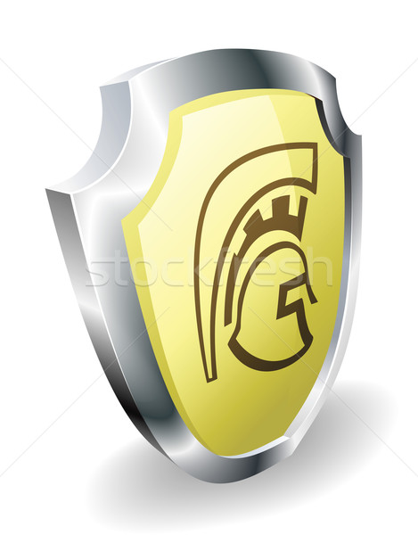 Spartan helmet shield security concept Stock photo © Krisdog