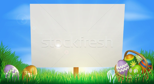 Pâques signe milieu domaine œufs de Pâques panier Photo stock © Krisdog
