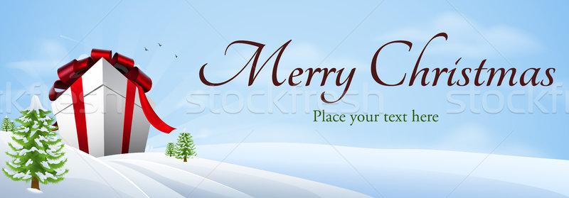 Gigante Natale regalo banner illustrazione inverno Foto d'archivio © Krisdog