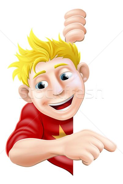 Friendly Young man or Boy Pointing Stock photo © Krisdog