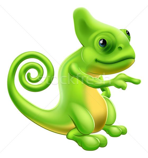Chameleon mascot pointing Stock photo © Krisdog