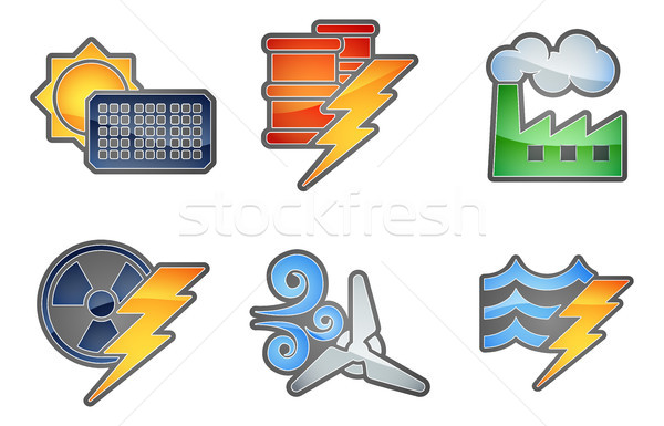 Macht energie ingesteld kleur iconen Stockfoto © Krisdog