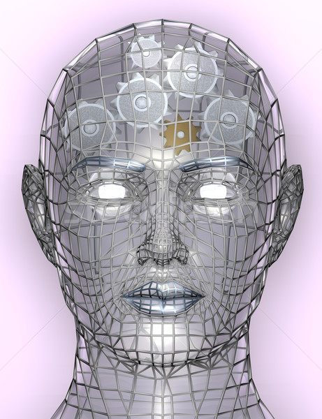Illustration of cogs or gears in human head Stock photo © Krisdog