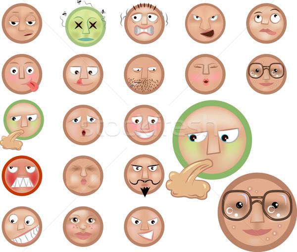Emotikonok ikon gyűjtemény szett arc haj szoba Stock fotó © Krisdog