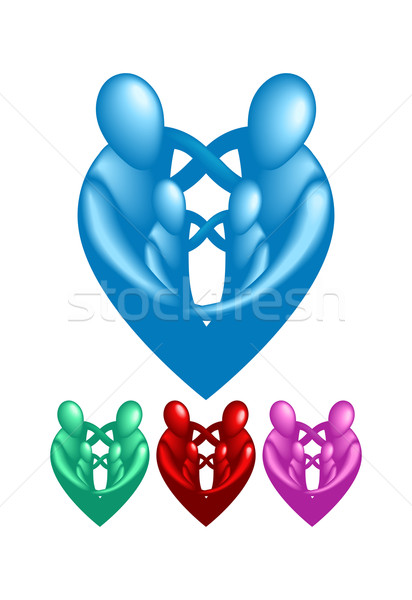 A loving protective family forming a heart shape.  Stock photo © Krisdog