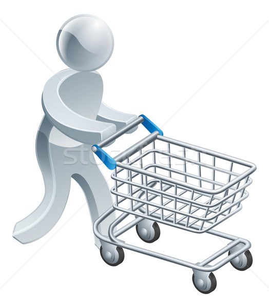 Shopping trolley silver person Stock photo © Krisdog