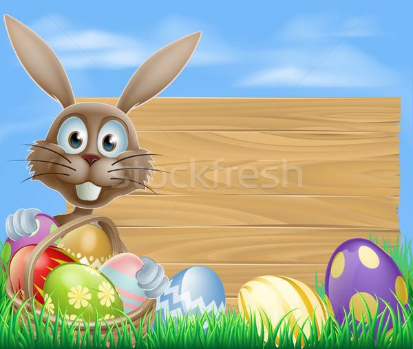 Easter eggs basket rabbit Stock photo © Krisdog