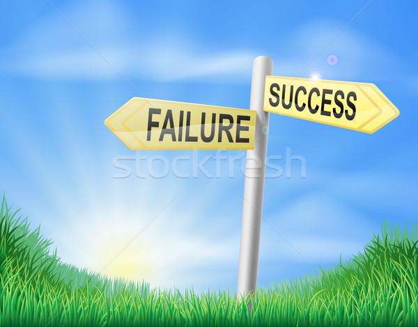 Başarı başarısızlık imzalamak seçim iş çim Stok fotoğraf © Krisdog