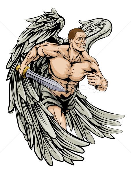 Guerreiro anjo mascote ilustração esportes Foto stock © Krisdog