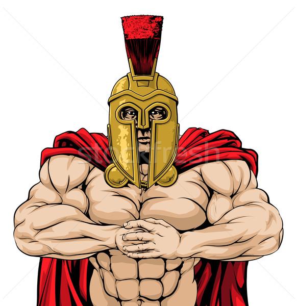 Spartan mascotte regarder homme prêt Photo stock © Krisdog