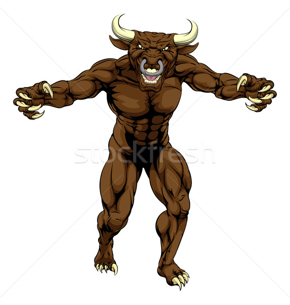 Bull Minotaur Character Attacking Stock photo © Krisdog