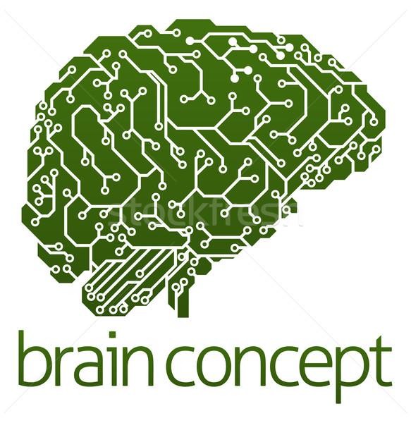 Elettriche circuito cervello illustrazione profilo intelligenza artificiale Foto d'archivio © Krisdog