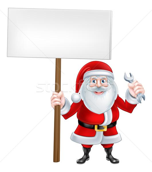 Santa Wrench Sign Stock photo © Krisdog